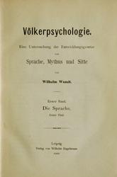 Titelseite von Wundts Völkerpsychologie