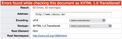 Validierung der CDU-CSU Website