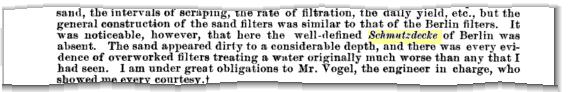 <em>Schmutzdecke</em> in einem Bericht des amerikanischen Kriegsministeriums von 1894.