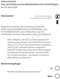 Stimmzettel der Initiative Pro Reli