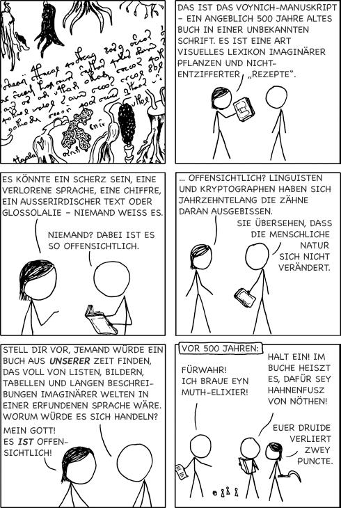 XKCD über das Voynich-Manuskript