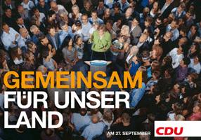 CDU-Wahlplakat: GEMEINSAM FÜR UNSER LAND