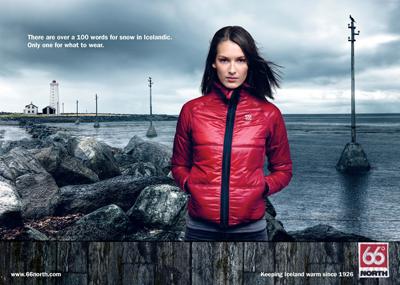 Werbeplakat des isländischen Bekleidungsherstellers 66° North