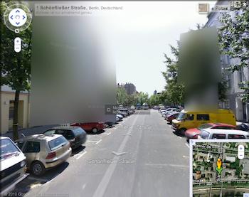 Bildschirmschnappschüsse von Google Street View in Berlin