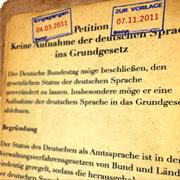 """Petition """"Keine Aufnahme der deutschen Sprache ins Grundgesetz"""""""