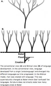 Kreationistisches Modell der Sprachvielfalt (Duursma 2002)