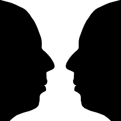 Zwei einander ansehende Gesichter, deren Zwischenraum als Vase wahrgenommen werden kann.