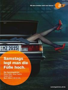 """""""Samstags legt man die Füße hoch"""" (Werbemotiv des ZDF, März 2014)"""