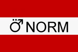 Österreichische Flagge mit dem Schriftzug ÖNORN, wobei das Ö das Symbol für Männer ist
