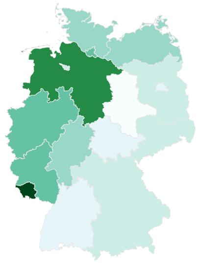Quelle: DECOWA01-A10; um und bei ; Verteilung nach Bundesländern, relativ zur Frequenz von .