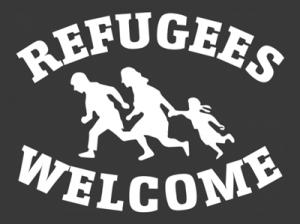 "Antifa-Motiv ""Refugees Welcome"" (Urheber: Kollektiv ""Red Stuff"", Berlin Kreuzberg)"