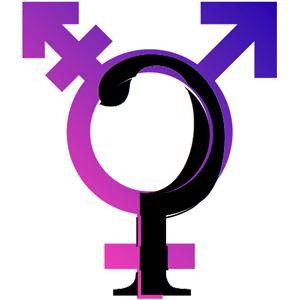 Glottaler Plosivlaut über das Transgender-Symbol gelegt